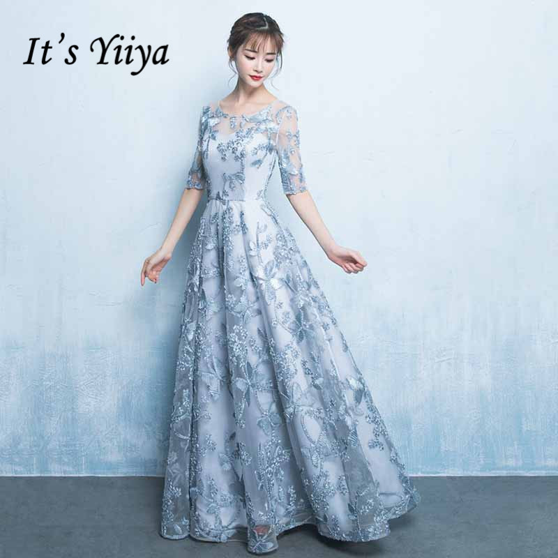 It's Yiiya Lace Evening Dresses 2020 Flower Embroidery A Line Women Banquet Formal Gowns O-Neck Elegant Party Vestito Lungo K207