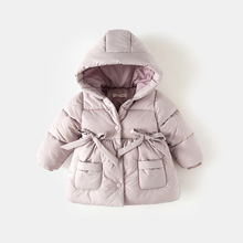 Baby Girls Down Cotton Coat Thick Warm Parka Toddler Kids Jackets And Coats Winter Children's Hooded Long Jacket Baby Outerwear cysincos autumn girls fur coat winter jackets girls hooded baby jacket thick baby jacket warm cute jacket teddy bear coats