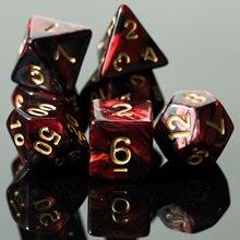 7 шт./компл. красный/черный игральные кости DND набора двойной Цвета многогранные кубики D4 D6 D8 D10 D % D12 D20 многогранные кубики для Настольная игр...