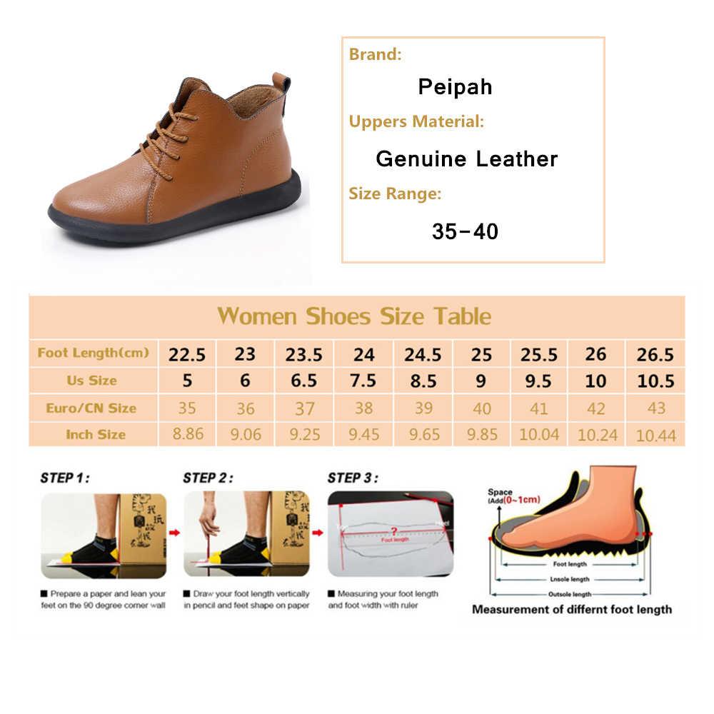PEIPAH Lente/Herfst vrouwen Schoenen Echt Leer Vrouw Enkellaarsjes Vrouwelijke Lace-Up Schoenen Platte met Bont laarzen Dames Botas Mujer