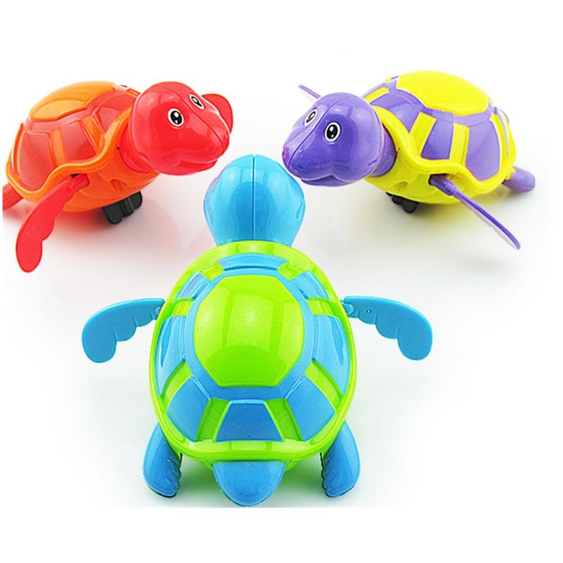 Venta única Linda tortuga Animal de dibujos animados clásico juguete de agua para bebés tortuga de natación cadena enrollada reloj niños juguetes de baño de playa