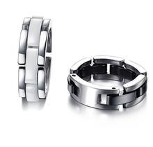 Модные черные/белые однорядные керамические кольца из нержавеющей