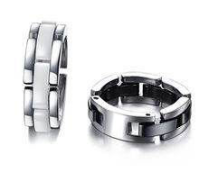 Moda Preto/Branco Uma Linha de Cerâmica Anéis de Aço Inoxidável Para Homens & Mulheres