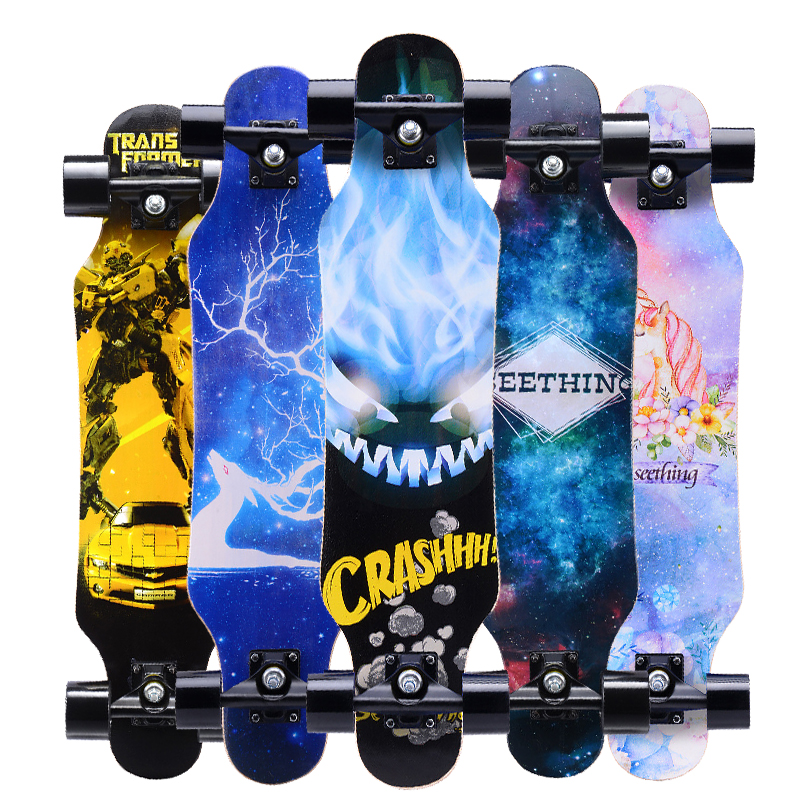 "31"" Adult Kids Mini Complete Longboard Skateboard Maple Wood Deck Skate Board Mini Street Dancing Longboard-in Skate Board from Sports & Entertainment"