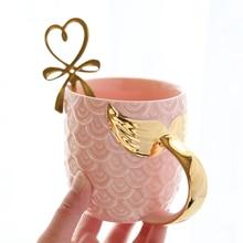 NEW Creative Gold Mermaid Coffee Mug Ceramic Morning Milk Cup Travel Tea Cup Christms Gift For Girlfriend Tableware Home Decor
