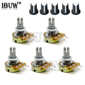 5 Sets WH148 1K 10K 20K 50K 100K 500K Ohm 15mm 3 Pin Linear Taper Rotary Potentiometer Resistor with AG2 cap For Arduino