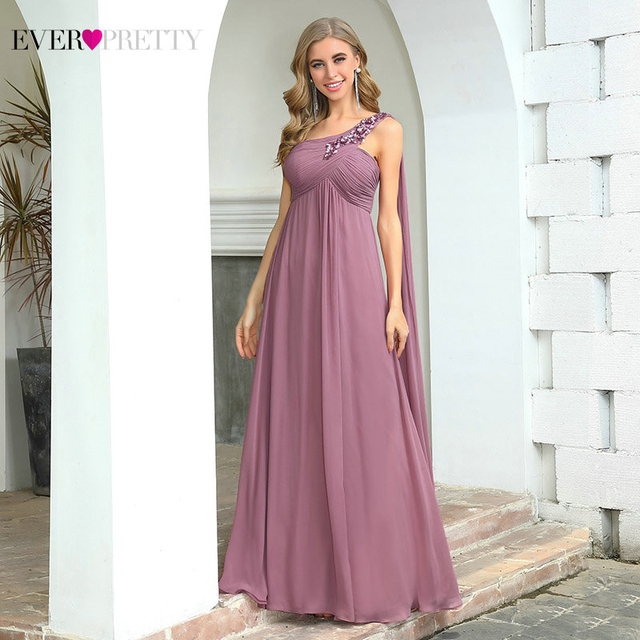 Dusty Pink Bridesmaid Dresses For Women For Weddings Ever Pretty EP00537 Elegant A Line Appliques Chiffon Wedding Party Dress