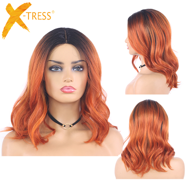 Ombre Ginger Colored Natural Wave Synthetic Lace Wigs Gray Brown Orange X TRESS Shoulder Length Bob Hair Wigs For Black Women