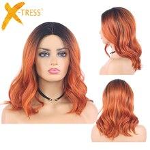 Ombre זנגביל בצבע טבעי גל תחרה סינתטית פאות אפור חום כתום X TRESS כתף אורך בוב שיער פאות לנשים שחורות