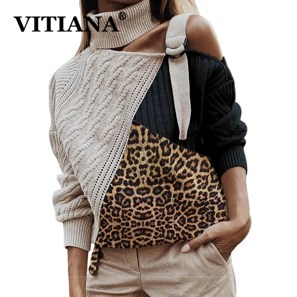 VITIANA Women Knitted Sweater Autumn 2019 Female Leopard Patchwork Turtleneck Sweaters Femme Sexy Off Shoulder Pullover Tops