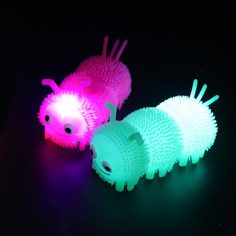 3pcs LED New Exotic Flash Stuff Caterpillars Toys Fun Decompression Squishy Changeable Color Luminous Toys For Children