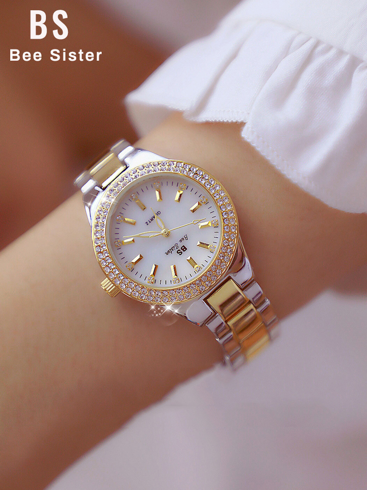 Diamond Watches Dress Montre Crystal Clock Women Stainless-Steel Silver Femme Ladies