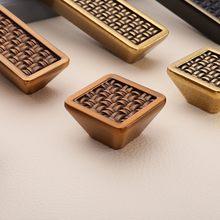 Bamboe Weven Patronen Vintage Lade Meubels Handgrepen/Knoppen Voor Kast/Deur/Kast, keuken Meubilair Hardware 64Mm/96Mm