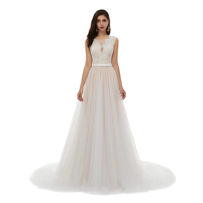 Women's V Neck Beaded Embroidery Boho Wedding Dress Sexy Sleeveless Lace Belt Pearl Long Beach Wedding Gowns Vestido De Noiva