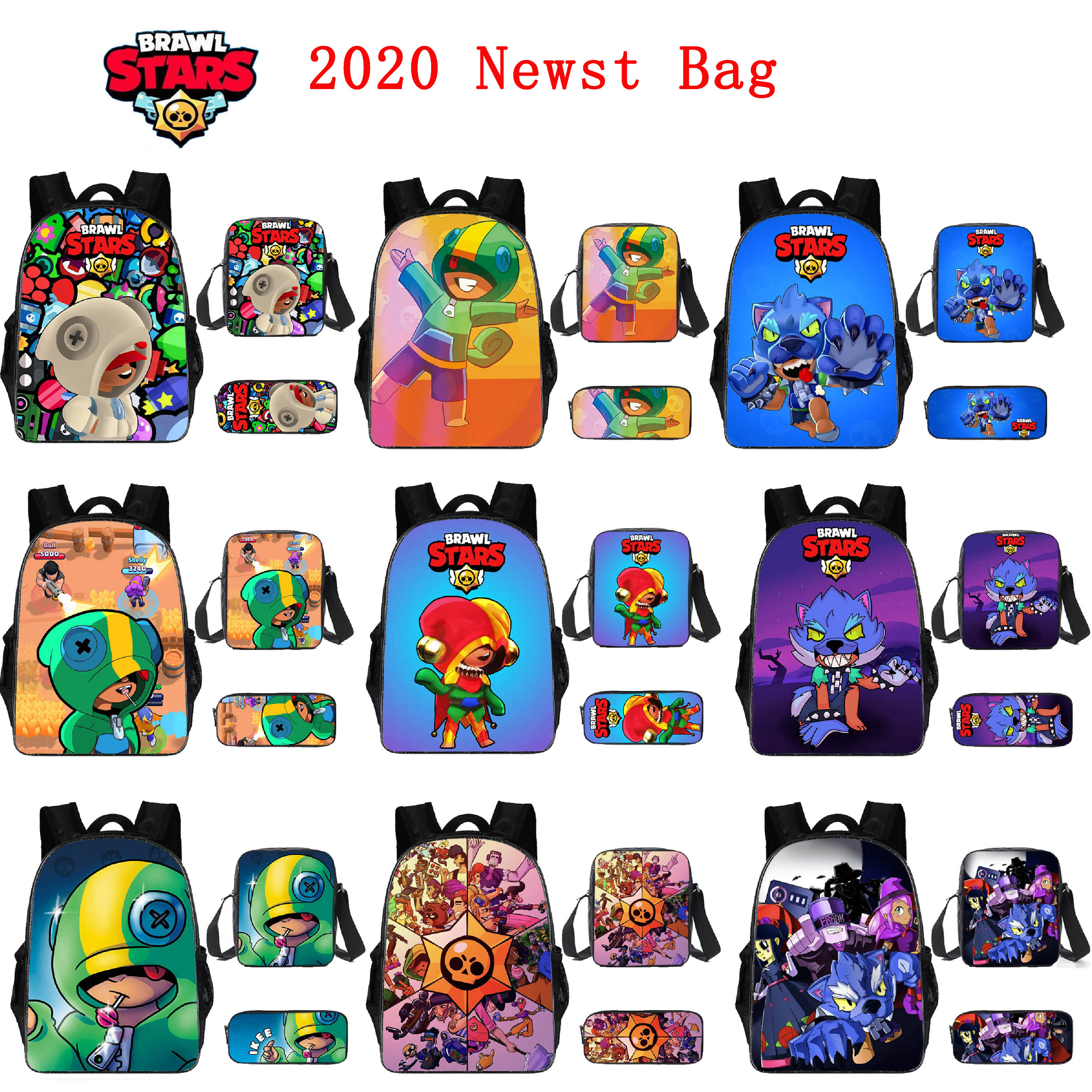 BrawlING Large Capacity 3D Stars Nylon Waterproof Backpack Set Anime Character Double Gun Reward Children Backpack Computer Bag