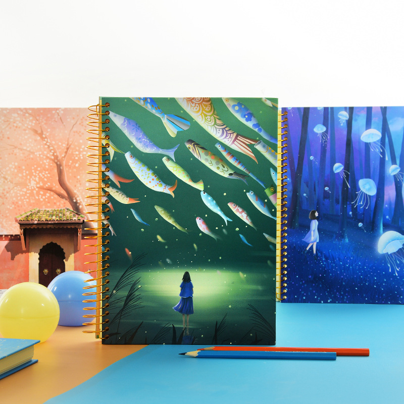 criativo conto de fadas bobina caderno bonito b5 portatil solto folha em branco palavra cartao de
