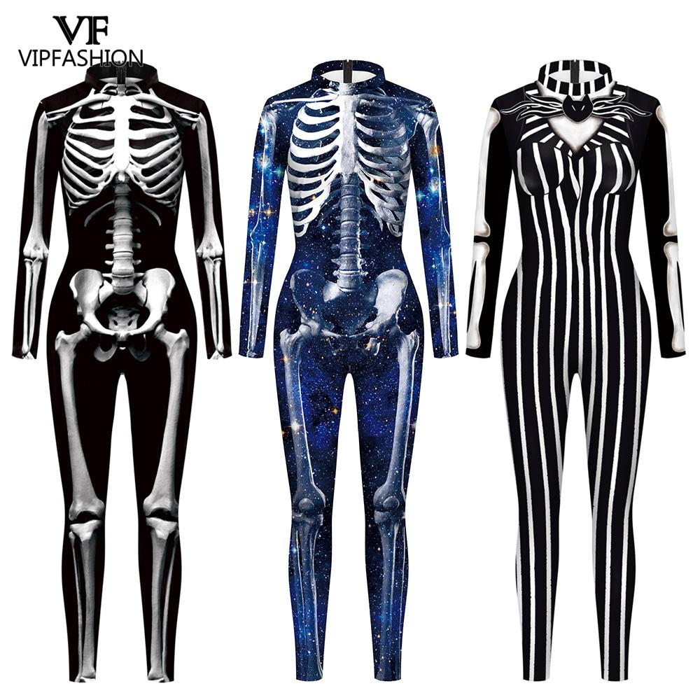 VIP FASHION Adult Skeleton Print Halloween Cosplay For Women Ghost Jumpsuit Party Carnival Performance Scary Costume Bodysuit