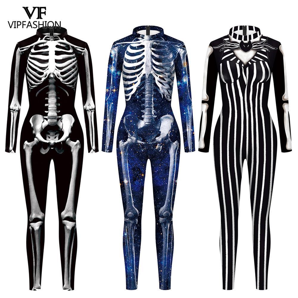 VIP moda yetişkin iskelet baskı cadılar bayramı Cosplay kadınlar için hayalet tulum parti karnaval performans korkunç kostüm Bodysuit