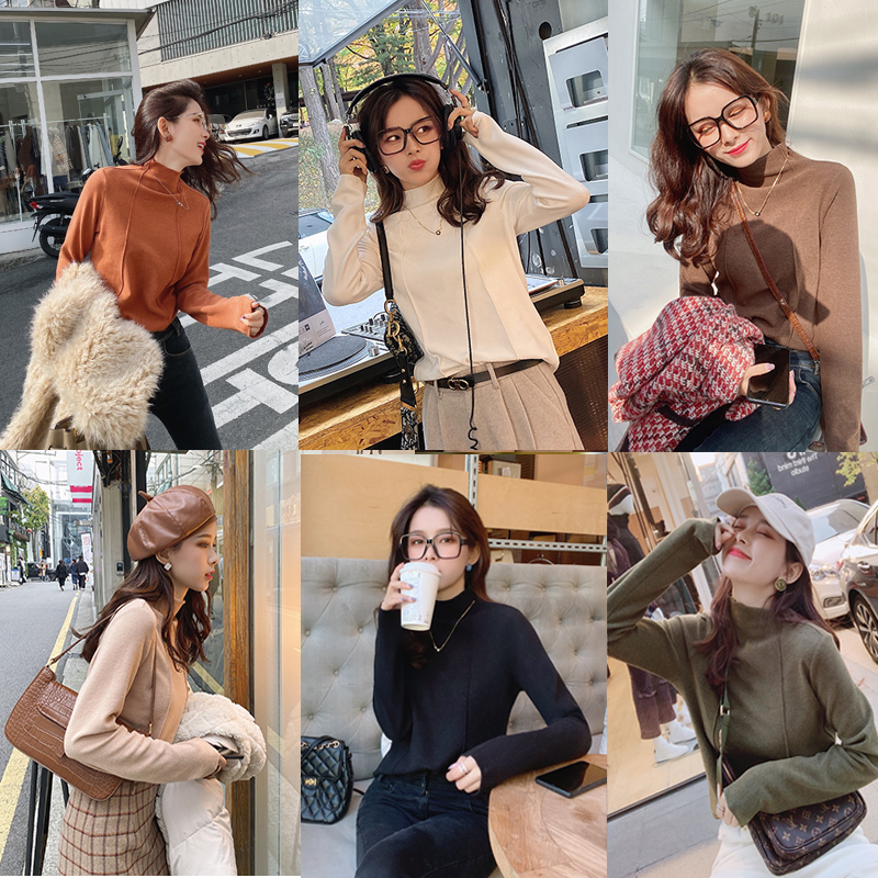 MISHOW Winter Basic Solid Turtleneck Slim Fit Sweater For Women Causal Long Sleeve Knit Pullover Tops MX19D5457