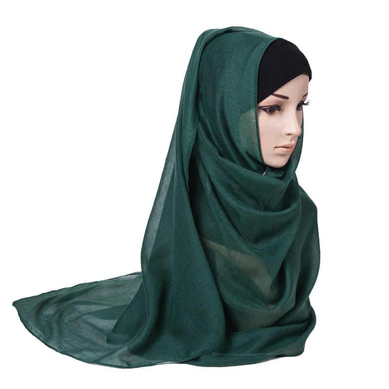 כותנה נשים צעיף חיג 'אב המוסלמי להתקמט ראש צעיפי דק וכורכת סרט Femme מוצק צבע חורף נדנה Echarpe