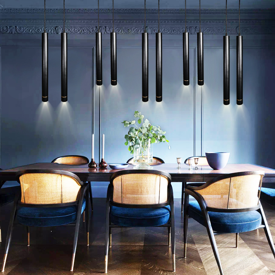 Nordic Pendant Lights Long Tube Aluminum Black Hanging Kitchen Light Length Adjustable Home Hotel Hall Lighting Lamp