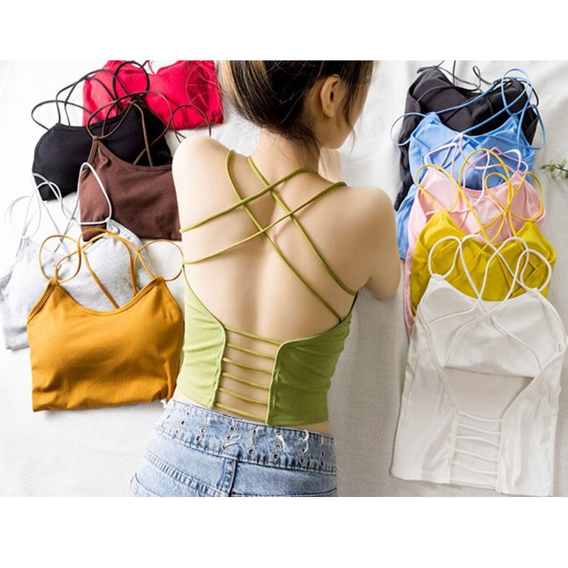 Women Summer Candy Color Slim   Tank     Top   Sexy Cross Bandage Hollow Out Backless Camisole Removable Padded Sling Vest Beachwear