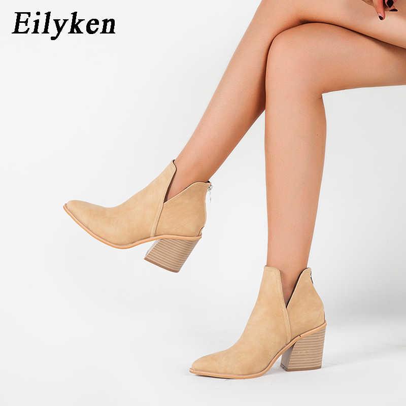 EilyKen çizmeler kadın erken kış ayak bileği leopar orta topuk ayakkabı kadın Slip-On Casual siyah kare topuk patik zapatos de mujer