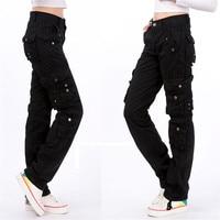 8 Colors Plus Size Women's Cotton Cargo Pants Military Leisure Trousers Pocket Causal Pants
