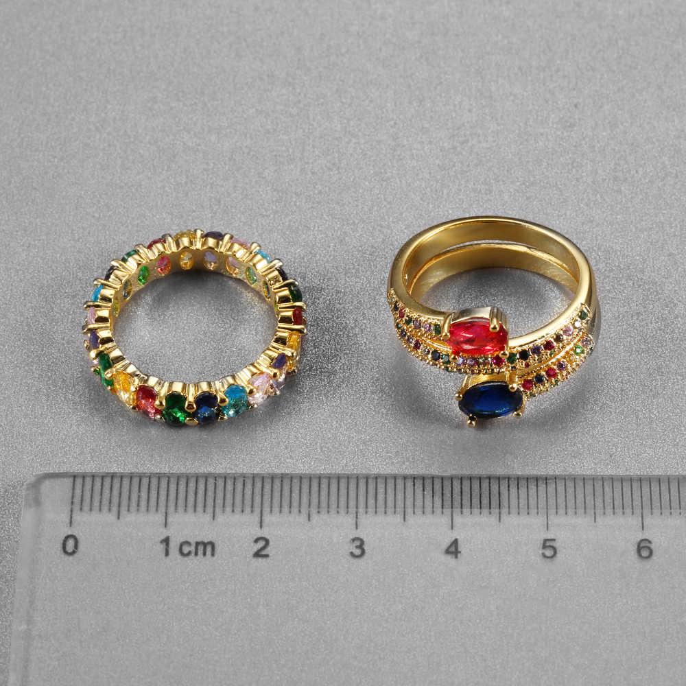 แหวนสตรี Crown Rainbow Wedding หมั้นแหวน Inlay Rhinestone ของขวัญ Charming คู่เครื่องประดับอุปกรณ์เสริม