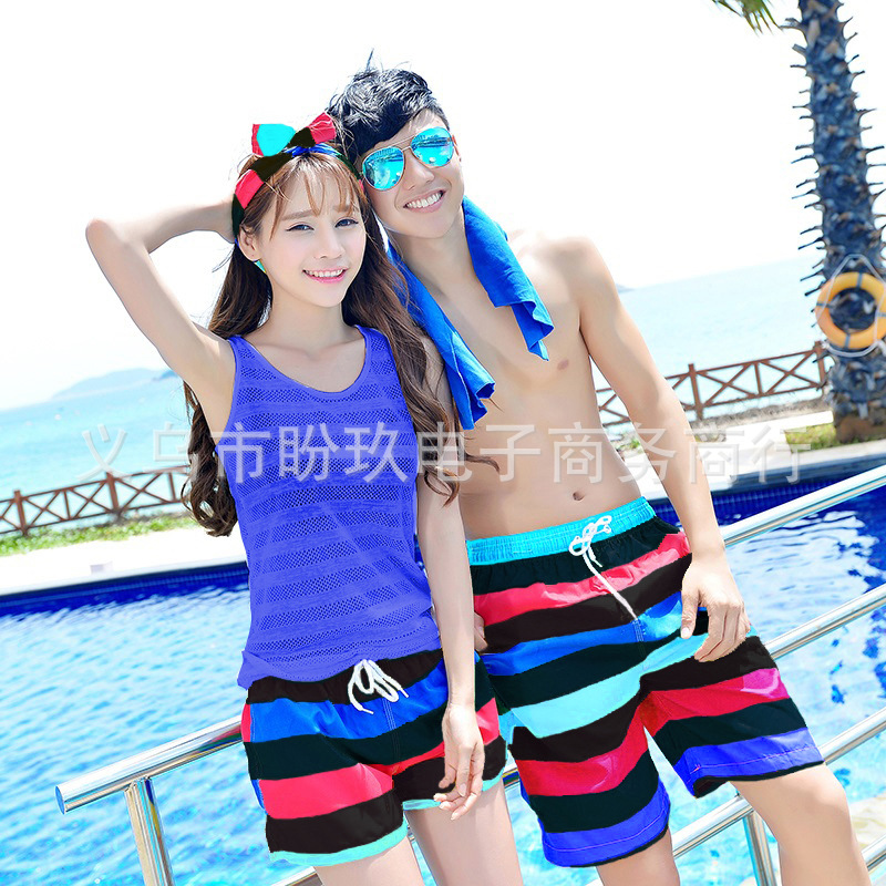 Couples Beach Shorts Korean Quick-Dry Breathable Large Size Short Seaside Holiday Hot Springs Household Men And Women Shorts Lig
