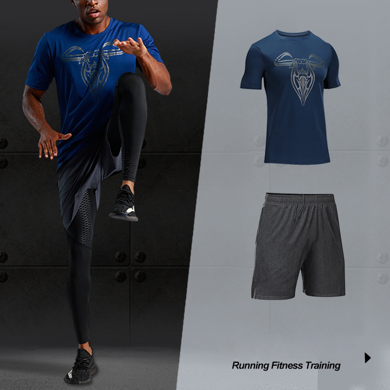 Men's 2020 Running Sports Cow Head Printing Training Short Sleeve Fitness Jogging Breathable Quick-dry Sport Suit