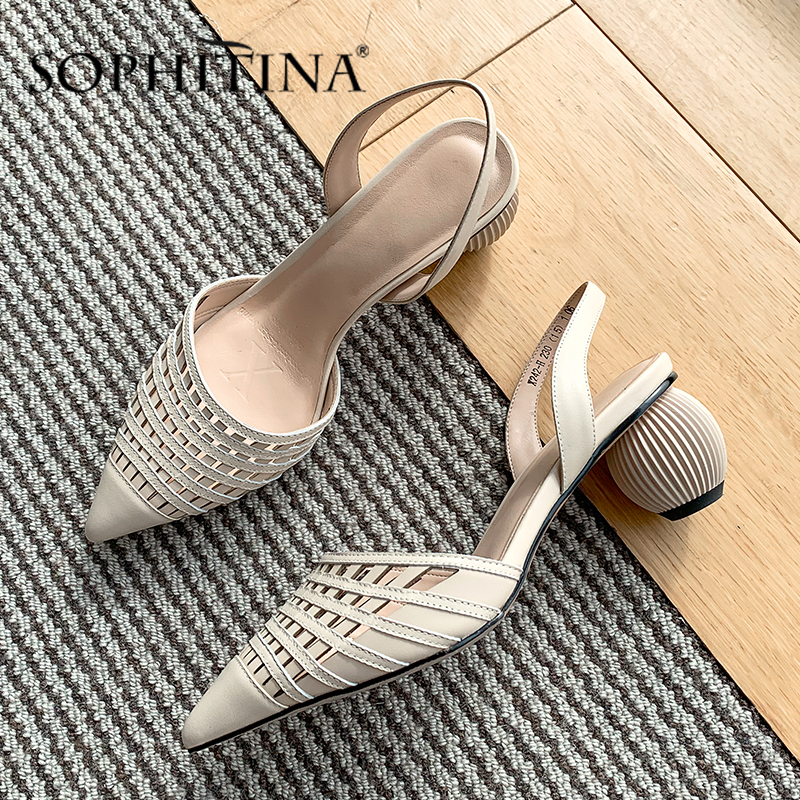 SOPHITINA Fashion Women' S Sandals High Quality Cow Leather Gridding Woven Design Strange Heel Shoes Elegant Solid Sandals SO432