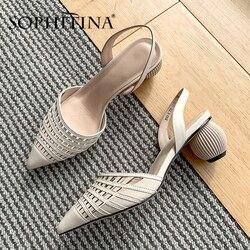 Sandalias de mujer de moda SOPHITINA, sandalias de cuero de vaca de calidad con diseño tejido y rejilla, zapatos de tacón extraño, sandalias sólidas elegantes SO432