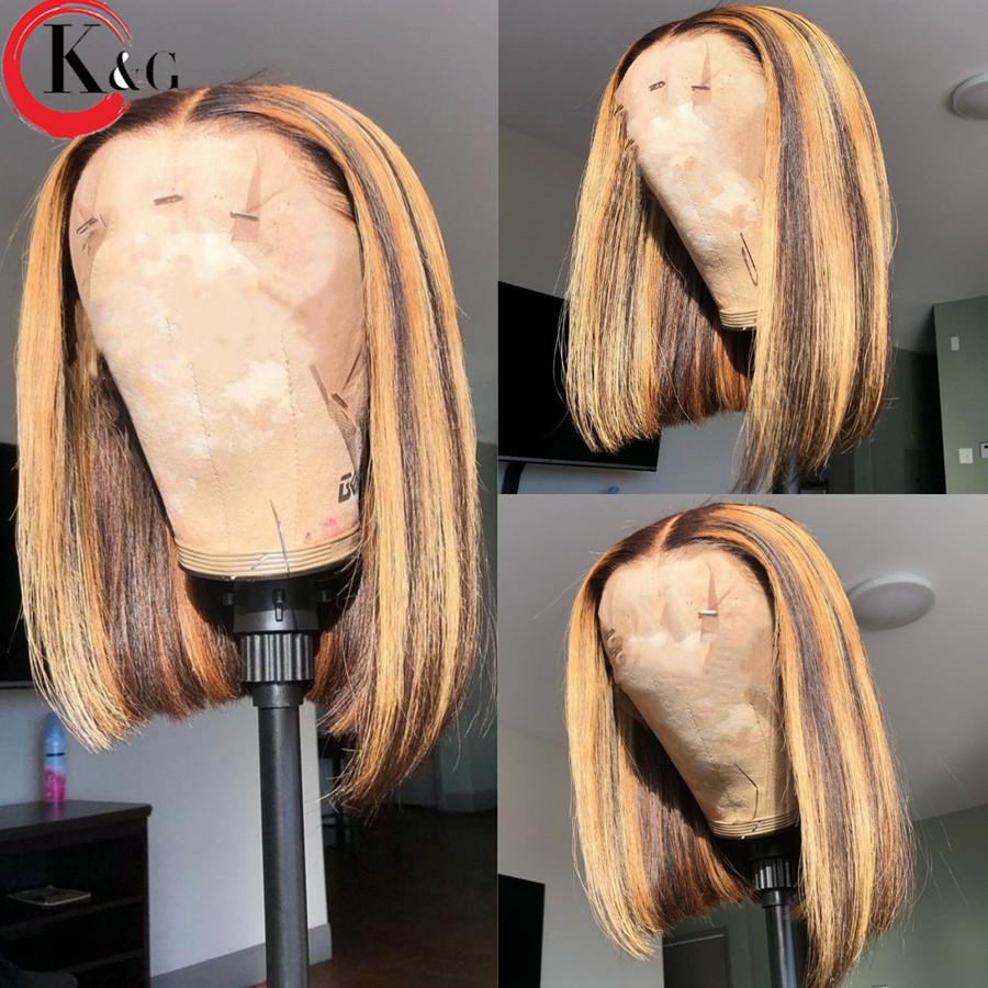KUNGANG evidenzia 13*6 parrucche di pizzo Bob corto t-part parrucche per capelli umani parrucche anteriori brasiliane densità 150% con capelli per bambini Non Remy