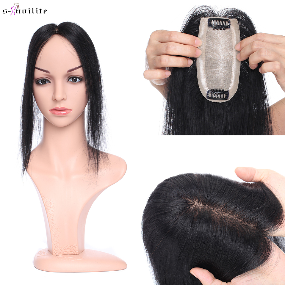 6x13cm Hair Toppers Human Hair Wig Natural Hair 100% Full Silk Base Hair Clips Straight Black Hair Piece Clip In Hair Extensions