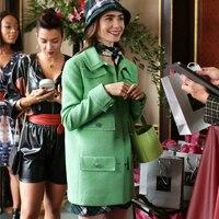 Luxus marke Herbst Elegante Grüne Plaid Tweed Twill Büro Jacke Langarm Slim Fit Anzug mantel Vintage Gitter Frauen Damen