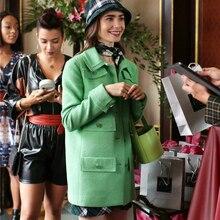 Luxe Merk Herfst Elegante Groene Plaid Tweed Twill Kantoor Jas Lange Mouwen Slim Fit Pak Jas Vintage Rooster Vrouwen Dames