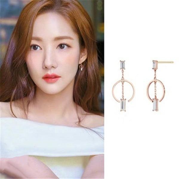 Liu Renna Park Min Young Drama TV Korean Earrings For Women Fashion Simulated Rhinestone Boucle Girls