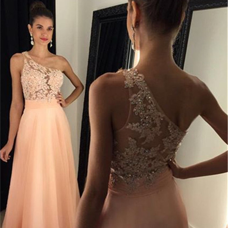 Sexy Long College Graduation Dress Lace one Shoulder Beaded Long Cheap Prom Dresses 2020 Chiffon Vestidos Para Formatura Baile