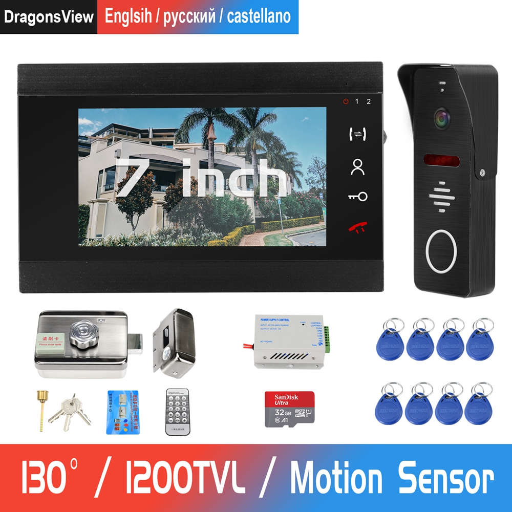 DragonsView Wired Video Door Phone For Home Intercom With Lock Access Control System Support  Motion Detect Video Intercom Locks