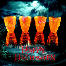 4Pcs/Set Skull Shape Water Bottle Halloween Cup Halloween Plastic Drinkware Creative Horror Beer Mug Party Bar Club Decorations
