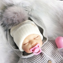 Baby Hat Crochet Pompom For A Boy Faux Fur Girl Cap Fake Raccoon Infant Caps Winter Newborn