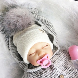 Baby Hat With Pompon Winter Knitted Hat For Boy Faux Fur Baby Girl Cap Newborn Photography Props(China)