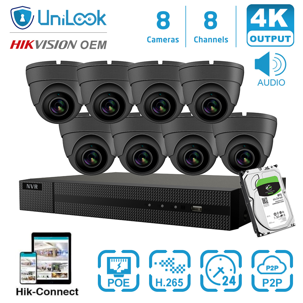 UniLook H.265+ 8CH 4K NVR 5MP HD POE NVR Kit CCTV System IR Outdoor Audio Video Security Systems 2.8 Mm Wide Angle HIK-Connect