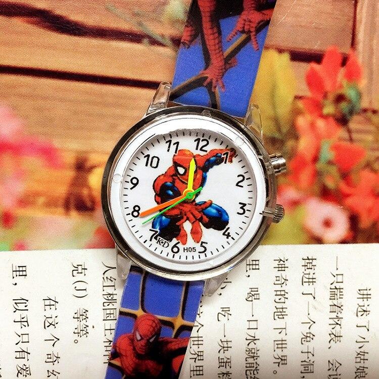 Luminous Glow Spiderman Watch Kids Watches Leather Strap Cute Children's Cartoon Super Hero Wristwatches Gifts For Kids Girl