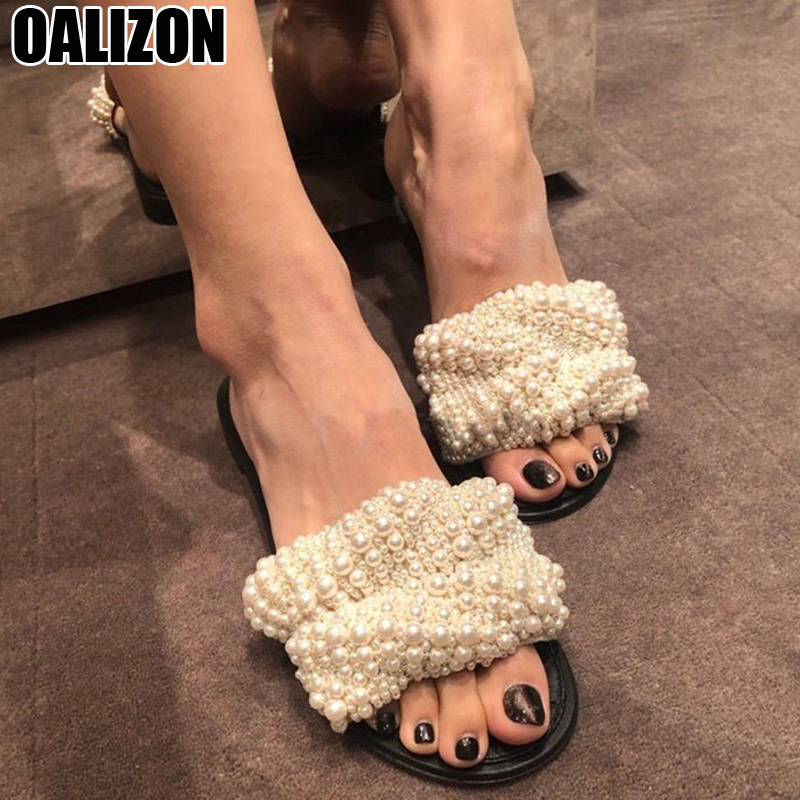 Woman Summer Fashion Pearl Adorn Casual Ladies Female Peep Toe Women Mujer Mules Slides Pearly Flat  Slippers Zapatos Shoes R103