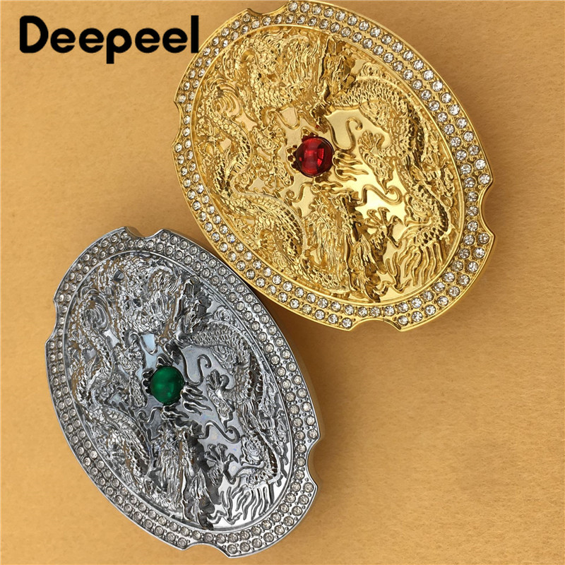 Deepeel 1pc Fashionable Retro High-grade Copper Smooth Belt Buckle Mens Dragon WaistBand Buckle For 3.7-3.9cm Leather StrapYK065