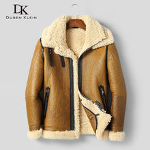 Men's Genuine Leather Jacket Sheepskin Winter Warm Wool Coat Shearling Outerwear 2020 New Designer Brand Luxury Fur Yellow C820(China)