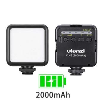 Ulanzi VL49 6W Mini światło led do kamery 2000mAh wbudowana bateria 5500K oświetlenie fotograficzne potrójne zimne buty 1 4 śruba do Vlogging tanie i dobre opinie Vlog mini LED video light DSLR cameras Smartphone Tripiod etc DC 3 0 V Type C 5500K±200K