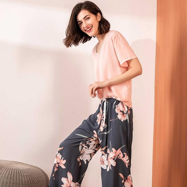 Pink Floral Printed Pajamas Set Women Cotton Satin Comfort V Neck Loose Sleepwear Ladies Top+Pants 2Pcs Homewear Casual Wear